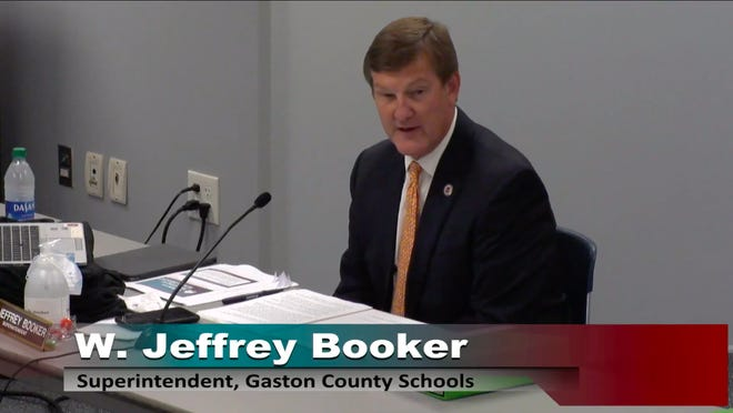 Gaston County Schools' Superintendent Jeff Booker speaks during a school board work session on Aug. 5, 2020.