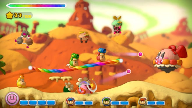 """Draw multi-colored paths on the Wii U tablet and play with up to three people via 4-player co-op in """"Kirby and the rainbow Curse."""""""