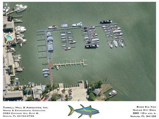 An aerial rendering shows the layout for the proposed Naples City Dock, set to open next February, with 84 slips and ipe wooden beams.