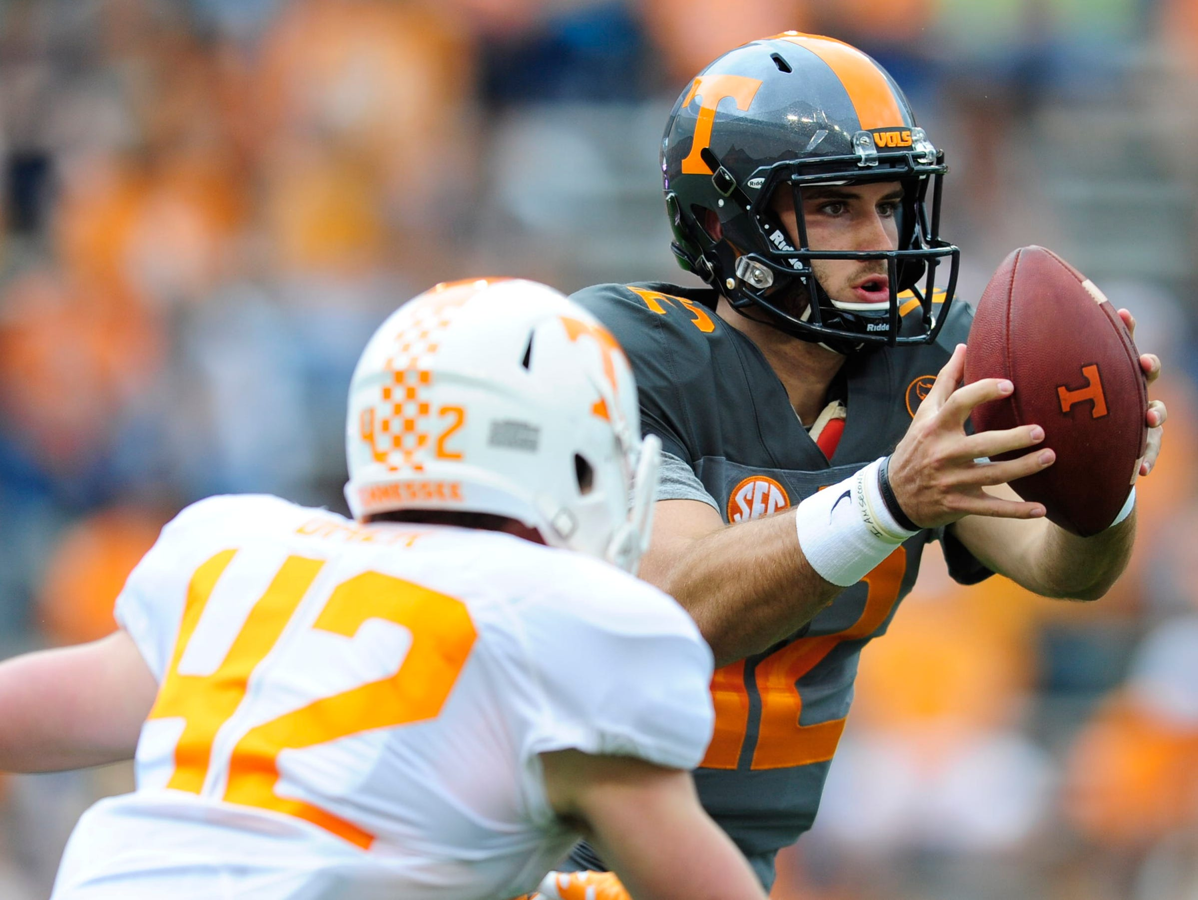 University of Tennessee's quarterback Quinten Dormady (12) looks to pass during the Orange & White Game at Neyland Stadium in Knoxville, Tennessee on Saturday, April 22, 2017.