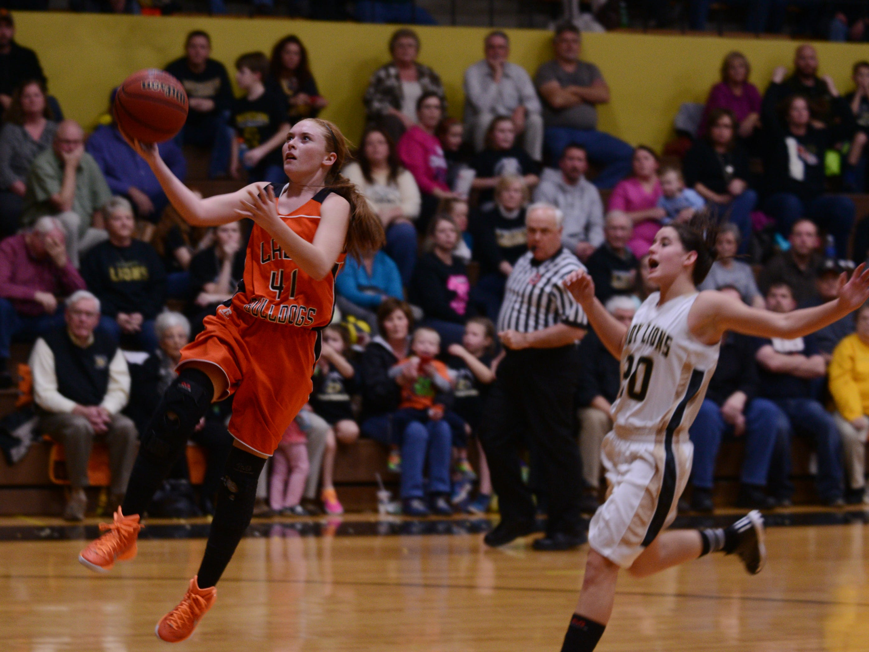 Gleason's Darby Reed goes up for a lay-up Tuesday against Dresden.