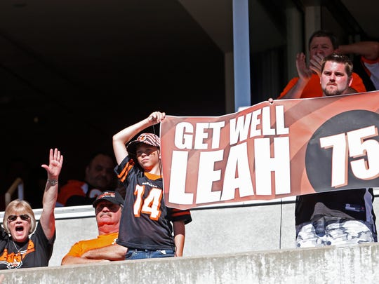 Fans show their support for Leah Still, daughter of Cincinnati Bengals defensive tackle Devon Still (75) during the fourth quarter of their game against the Atlanta Falcons played at Paul Brown Stadium.