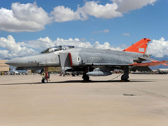 A remotely controlled QF-4E Phantom Jet, like the one