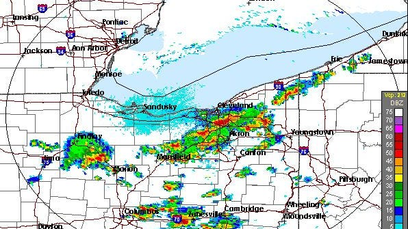 National Weather Service radar shows heavy thunderstorms producing 2 inches of rain per hour in Northeastern Summit County and Southeastern Cuyahoga County.