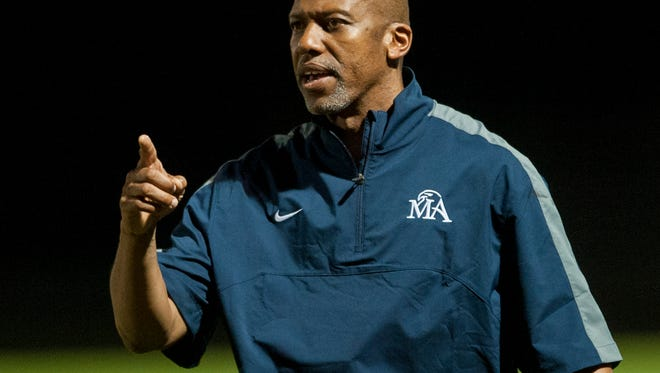 Montgomery Academy coach Anthony McCall coaches against Hillcrest at the MA campus in Montgomery, Ala. on Friday November 6, 2015.