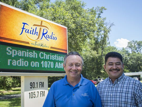 Faith Radio owner Scott Beigle and Radio Fe director Enrique Yanez look forward to a partnership on the airwaves.. The station has expanded their content to include a new Spanish language Christian radio station named Radio Fe. The station operates from dawn to dusk and 24 hours a daily online.