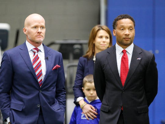 Former GM Doug Whaley, right, led the search for coach Sean McDermott. Despite being fired by the team, Whaley said he'll be rooting for the Bills and McDermott to succeed.