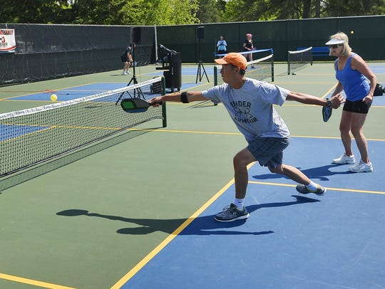 Pickleballers try out six new pickleball courts that