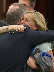 Tammy Weeks, right, mother of victim Nicole Lovell,