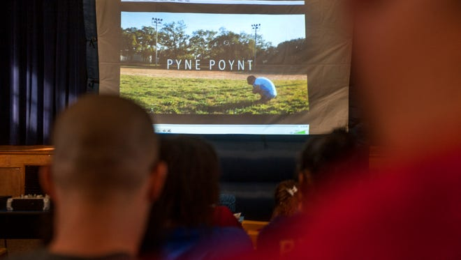 """A screening of """"Pyne Poynt,"""" a documentary about the North Camden Little League, is held at the Mastery Schools of Camden's North Camden campus."""