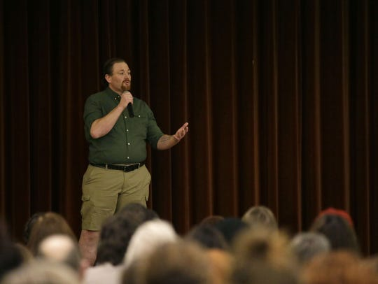 Nicholas Heenan speaks during a Storycatchers Live