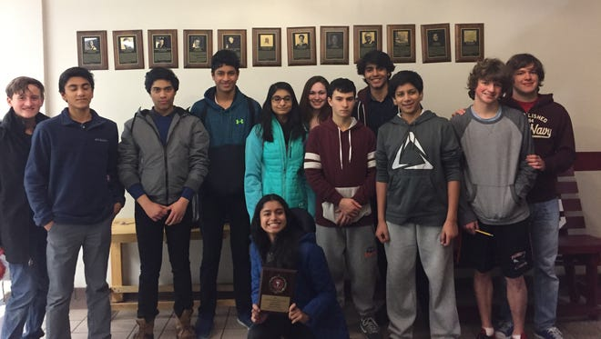 Anita Shanker (front and center) along with Daniel Barnett, Rohan Singh, Ruhaan Mutsuddi, Ryan Shanker, Maimoonah Shafqat, Nicole Giordano, Noah Goldfischer, Daud Shad, Varun Shringapure, Joseph Mucci, Ronald Mucci represented Mountain Lakes High School in a state history competition on Jan. 14.