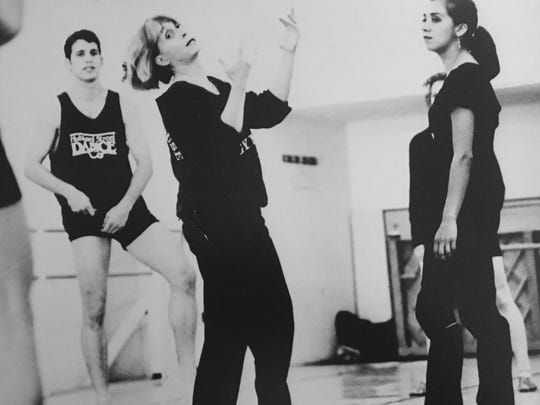 Twyla Tharp demonstrating one of her dances to Christine Carrillo during Carrillo's years with Hubbard Street Dance Chicago.