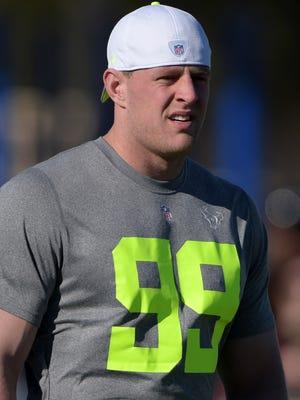 Houston Texans defensive end J.J. Watt (99) at Team Carter practice for the 2015 Pro Bowl at Luke Air Force Base.