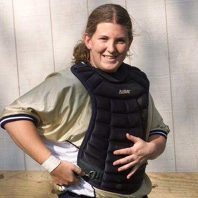 Section 4 Hall of Fame inductee Megan Evans plays a softball game for Notre Dame in May of 2001.