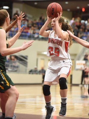 Norfork's Ivy McGowan (25) was named all-state and all-conference, along with teammate Marleigh Dodson, by the 1A-2 North Conference.