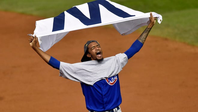 Carl Edwards Jr. celebrates after the Cubs won the World Series.