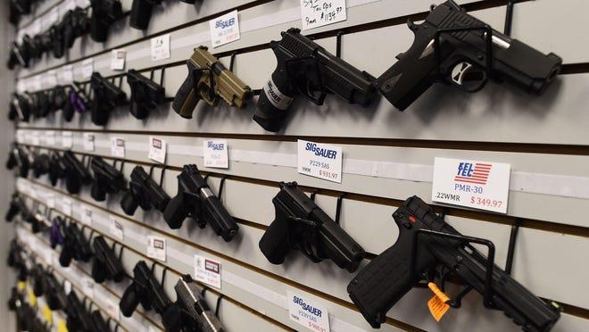 Handguns are shown for sale in Missouri.