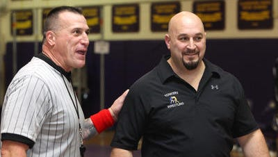 Yonkers coach Pete Vulpone at the Division 1 Dual Meet wrestling championships quad meet at Clarkstown North Dec.4, 2014.