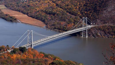 The Bear Mountain Bridge is north of the Tappan Zee Bridge and provides an alternate route across the Hudson River.