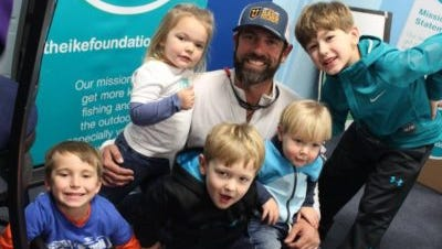 Mike Iaconelli surrounded by the future of fishing and the reason for the Ike Foundation.