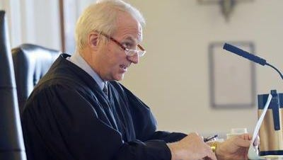 Vermont Superior Court Judge A. Gregory Rainville is seen presiding at a hearing last year in Lamoille County.