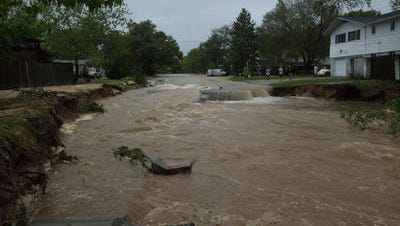 Piedmont Road is washed out from Tronjo Drive to Hallmark Drive.