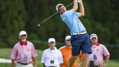 Cameron Young watches his tee shot on the sixth hole during the quarterfinal round of match play at the 2014 U.S. Amateur at Atlanta Athletic Club in Johns Creek, Georgia, on Friday.