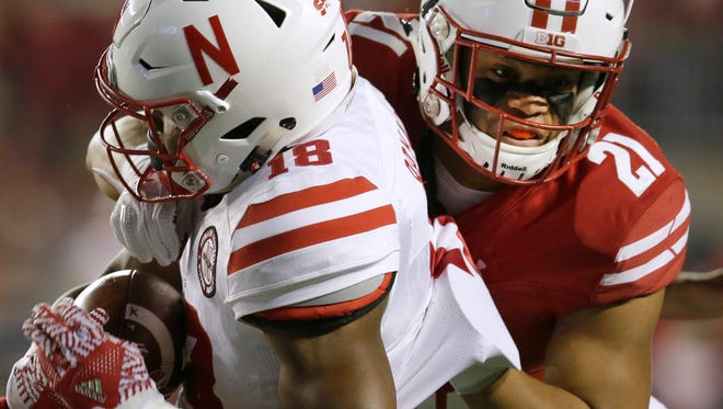 Arrington Farrar (shown in action vs. Nebraska last season) was moved to linebacker in the spring after having been a reserve safety.