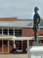 The Robert E. Lee statue stands in front of Lee High School.