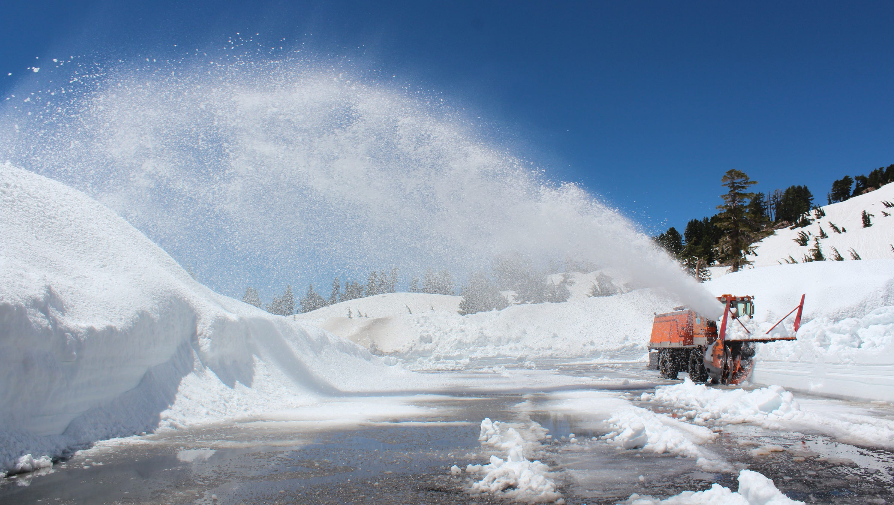 clearing the snow from highway 89 at lassen
