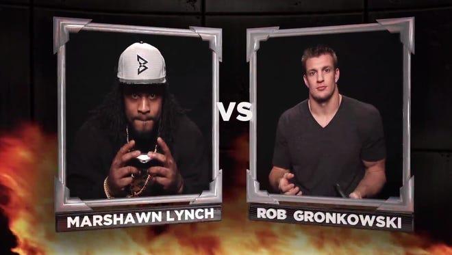 Marshawn Lynch vs. Rob Gronkowski. In video games.