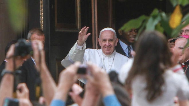 Pope Francis arrives at the Cathedral Basilica of Saints Peter and Paul in Philadelphia.