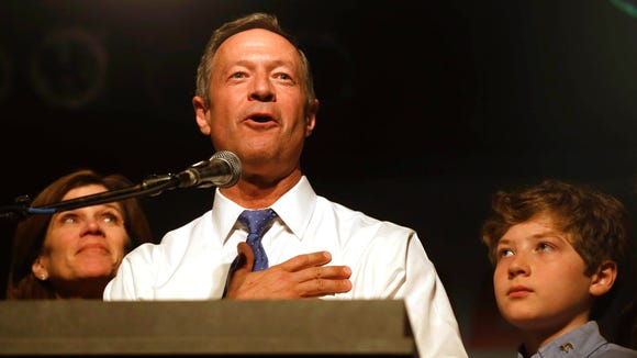 Martin O'Malley thanks his supporters as he announces