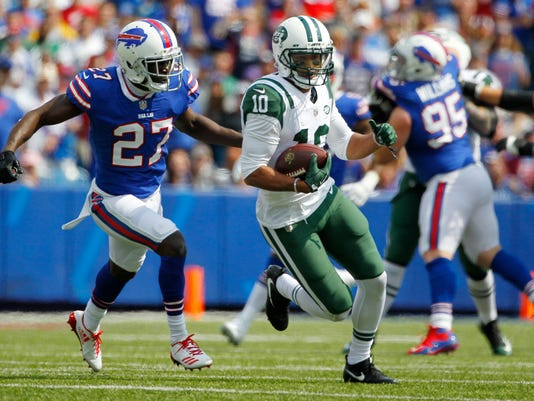 FILE - In this Sunday, Sept. 10, 2017 file photo, Buffalo Bills' Tre'Davious White (27) chases New York Jets' Jermaine Kearse (10) during the first half of an NFL football game in Orchard Park, N.Y. Jermaine Kearse is no fan of the Oakland Raiders' home field. Kearse and the Jets will play at Oakland on Sunday, Sept. 17, 2017. (AP Photo/Jeffrey T. Barnes, File)