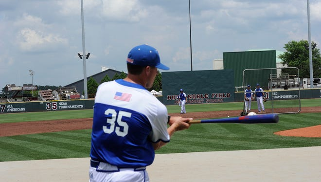 Louisiana Tech goes through practice Thursday at Mississippi State. The Bulldogs open regionals Friday against Cal State Fullerton.
