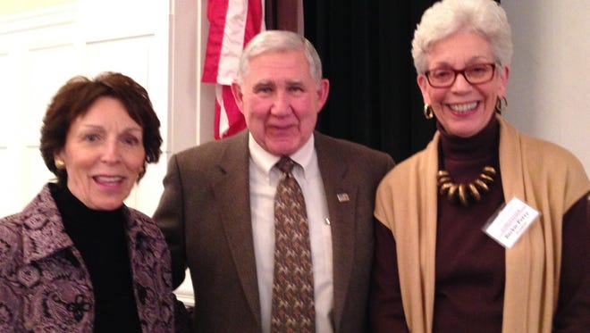 At The Community House Women's Club, Phyllis Schueller, program committee, Radford Jones, career Secret Service agent, and Beckie Perry  led the luncheon and program featuring Rad Jones's description of events during his career serving six presidents.