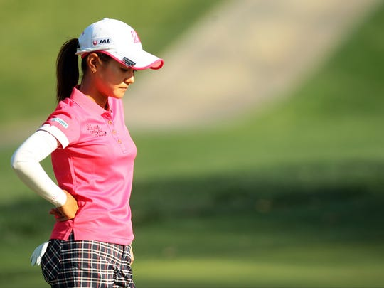 In second place after the ANA Inspiration's first round Thursday, April 2, 2015, Japan's Ai Miyazato is one shot off the lead heading into Friday. Miyazato shot -4 for the day including par on the seventh hole, seen here as she is waiting to putt.