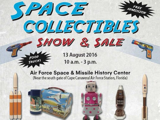 Flyer promoting the Space Collectibles Show and Sale on Aug. 13 at the Air Force Space and Missile History Center.