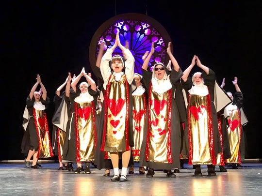 """Members of the """"nunsemble"""" rehearse a scene from the"""