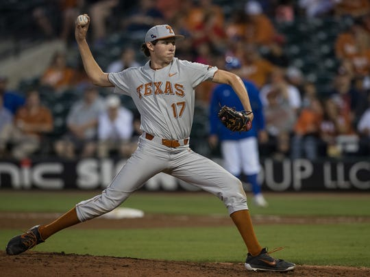Texas' Nico O'Donnell throws a pitch during the fourth