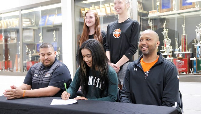 Aztec's Myra McCaskill signed her National Letter of Intent Monday to play basketball at NCAA Division II Eastern New Mexico University.