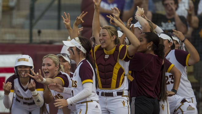 Arizona State celebrates infielder Denae Chatman's home run during the game against Ole Miss on May 20, 2018, in Farrington Stadium in Tempe.