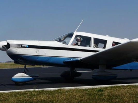 SUBMITTED  Jason Hilt, pilot and president of Brave Tide Foundation, lands his 1970 single-engine Piper Cherokee Six at Allied Aviation near Lancaster Airport on April 10. He was flying six greyhounds from Florida to adoption groups in Pennsylvania.