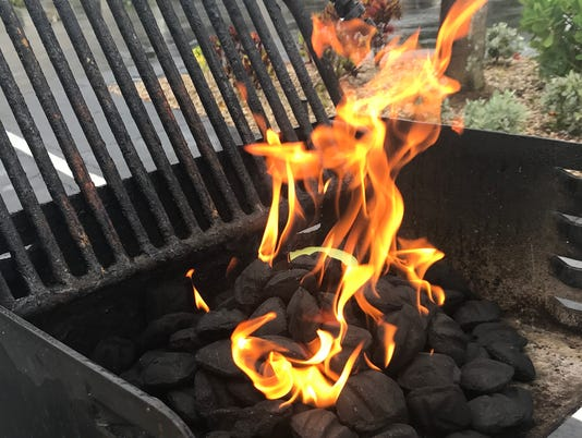 Charcoal grill fire