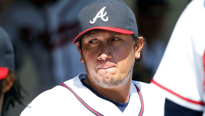 Atlanta Braves pitcher Freddy Garcia in the dugout against the Tampa Bay Rays at Champion Stadium.
