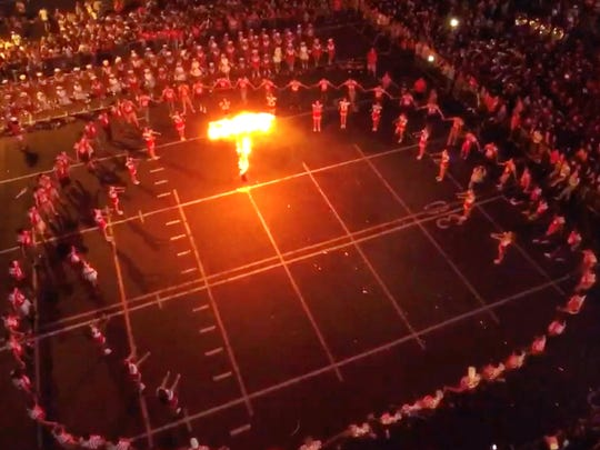 Drone footage from the Ray High School burning of the