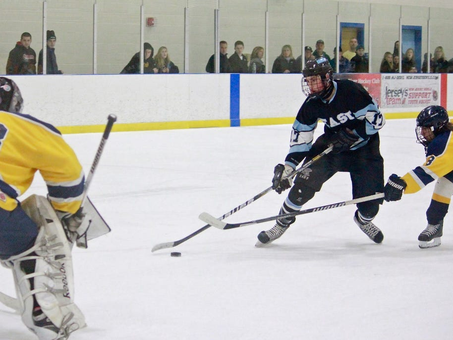 Toms River East's Zach Noble (17) skates in on net a season ago.