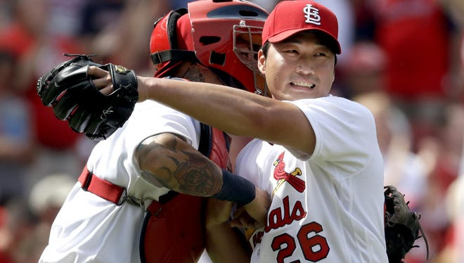 Cardinals relief pitcher Seung Hwan Oh, right, has appeared in 44 games for St. Louis this season.