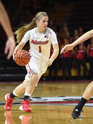 Marist College's Claire Oberdorf advances the ball against Delaware on Nov. 19 at McCann Arena.